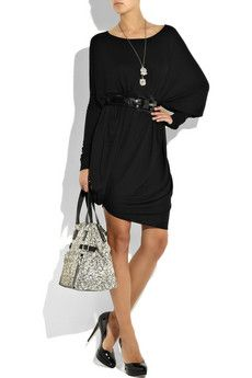 I would have to switch the shoes out to a lower heel. Love the dress and handbag.