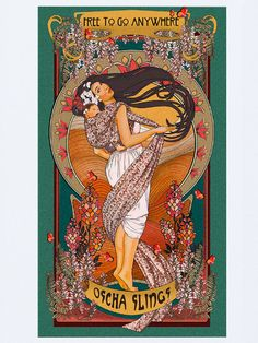 Celebrate babywearing with fine art. Lovingly created in-house at Oscha in the glorious Art Nouveau style of Alphonse Mucha, these pieces depict the beauty