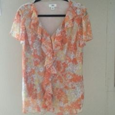 Cato blouse with ruffle front. No buttons just pull over. Cato Tops Blouses