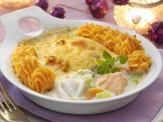 Vispannetje met puree van zoete aardappel