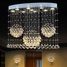 Modern Art K9 Crystal LED Ellipse Pendant Light Luxurious Fashion Brief Stairs Lamp Living Room Lustre Suspension Lighting