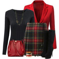 Tartan Skirt - To wear - Mini Skirt Outfit Classy Outfits, Stylish Outfits, Beautiful Outfits, Mode Outfits, Fall Outfits, Work Fashion, Fashion Looks, Fashion Fashion, Fashion Ideas