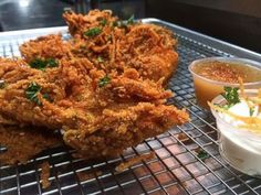 Latke chicken fingers//marinate chicken, dry, roll in flour, dip in egg, do a shortcut and coat with Potato Latke Mix