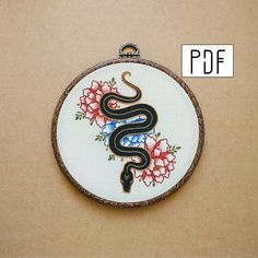 PDF pattern - Snake and Flowers Hand Embroidery Pattern (PDF pattern - modern embroidery pattern - tattoo patch - peony - rose embroidery) - Hand embroidery patterns - Embroidery Flowers Pattern, Rose Embroidery, Silk Ribbon Embroidery, Embroidery Patches, Modern Embroidery, Embroidery Kits, Machine Embroidery, Embroidery Designs, Embroidery Tattoo