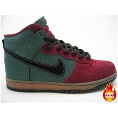 separation shoes 53ec2 41f13 Mens Nike Dunk High Pro SB Goofy Boy ( Red -Green Denim)