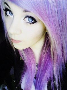 Bold & Simple casual everyday makeup. And pastel purple hair.