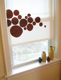 Dress up some vinyl shades with contact paper! I love this idea. DIY vinyl shade decals | How About Orange