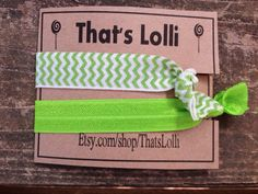 Lime and lime chevron hair ties birthday slumber by ThatsLolli, $1.75