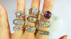 A variety of great antique rings available at David Klass Jewelry.