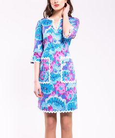 Take a look at this Blue & Fuchsia Floral Rickrack Pocket Dress by Almatrichi on #zulily today!