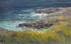 """""""Coastal Walk"""" Pastel painting by Aidan Butler.  """"I didn't want any sky in this painting so as to concentrate the feeling of 'going down to the sea'"""" from a height."""