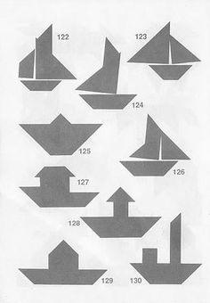 Figuras de barcos con Tangram con soluciones Tangram Puzzles, Logic Puzzles, Brain Teasers, Origami, Homeschool, Quilts, Education, Crafts, Geometric Fashion