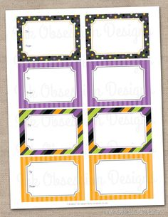 Halloween Polka Dots and Stripes Printable Labels and Gift Tags - INSTANT DOWNLOAD