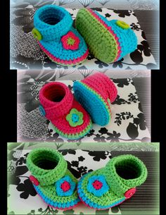 Crochet booties 'Made by Marian'. Model 'Punkie'. I used a pattern of www.tjeempie.com and styled in my own way.