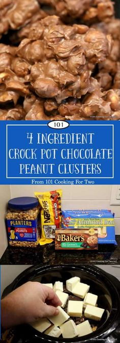 Just 5 minutes, 4 ingredients and 2 hours in the crock pot will get you some of the best candy. via 101 Cooking for Two christmas nuts recipes Slow Cooker Recipes Dessert, Crock Pot Desserts, Fudge Recipes, Crockpot Recipes, Dessert Recipes, Candy Recipes, Crock Pot Candy, Cookie Recipes, Chocolate Peanut Clusters