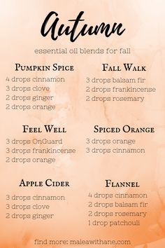 Fall Essential Oils Blends Bring the smell of fall into your home with these fall essential oils blends!Bring the smell of fall into your home with these fall essential oils blends! Fall Essential Oils, Essential Oil Diffuser Blends, Essential Oils Christmas, Essential Oil Combinations, Diffuser Recipes, Aromatherapy Oils, Aromatherapy Recipes, Perfume, Cedarwood Oil