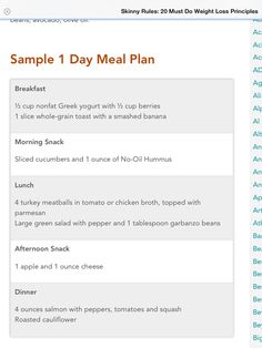 The skinny rules (Bob Harper) sample menu