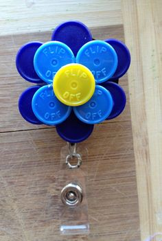 Large Flower ID Badge Holder With Retractable Reel - Made From Flip Off Vial Caps (blue, yellow, navy, light dark, flower, floral)