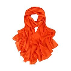 "ZORJAR Solid Color Silk Satin Sunscreen Beach Long Scarf Shawl Wrap 7035 Inches (Orange). Made with silk (65%silk,35%Polyester. Size: 70"" X 35""(180CM*90CM) Weight about:90g. Stunning satin finish makes every dress look beautiful.Functional Accessory: Perfect for matching casual or dress, Great for events, evening, wedding. Touch & Feel: Smooth and Soft with Natural Silk Hand Feel. Can be worn around the neck, head, hair and waist; on handbags and hats. Can also be used as home decor…"