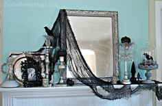 How To Get A Gothic Style Haunted Halloween Mantel...pretty cool looking, makes me think of the Addams Family, or the Munsters.
