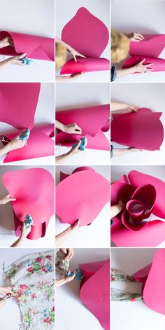 Steps to create a paper flower rose hat. Perfect for the derbies!