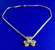 CLOVER Heart Pendant Gold Tone Chain Necklace Women Fashion Jewelry Accessories #Unbranded #Chain