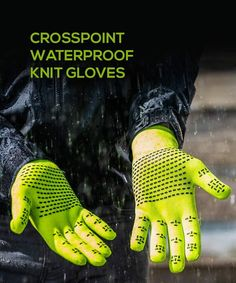 2019//20 Crosspoint Knit Waterproof Gloves Safety Orange by Showers Pass