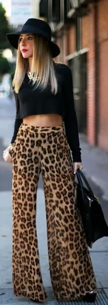 Leopard Prints + Palazzos + black crop top= everything you need to look super glam.