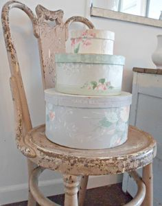 Shabby french for me ~pretty hat boxes and lovely chair~❥