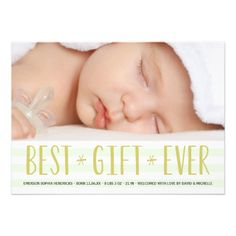Holiday photo card birth announcement with mint stripes and gold lettering #2014