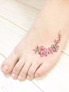 Watercolor style apple blossom tattoo on the left foot. Dainty Tattoos, Anklet Tattoos, Girly Tattoos, Pretty Tattoos, Wrist Tattoos, Flower Tattoos, Beautiful Tattoos, Body Art Tattoos, Apple Blossom Tattoos