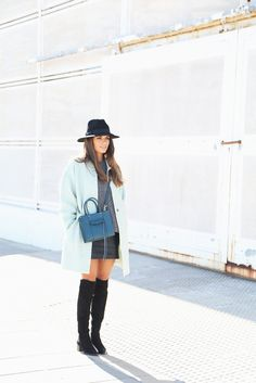 Mint Coat + Over the Knee Boots