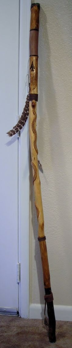 Native American Indian Spirit Walking Cane Staff Snake Deer Feathers Arrow Head