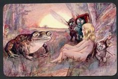 BEAUTIFUL  FAIRY AND FROG SCENE SWAP CARD EXCELLENT CONDITION
