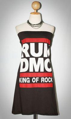 RUN D.M.C. American Hip Hop Charcoal Black Sleeveless Indie Tube Top Women T-Shirt Size L