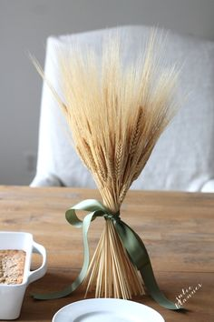 diy wheat sheaf wreath centerpiece for fall
