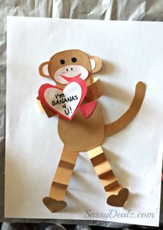 Monkey valentine craft for kids. Very easy craft! Click here for photos of all the pieces needed and some basic instruction.