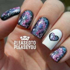 Galaxy Nails with Heart.