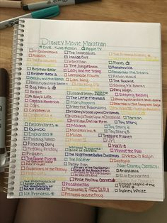 Disney movie marathon list!!! Alphabetical, colorful, ready to begin!