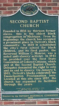 Second Baptist Church, Detroit - The Underground Railroad