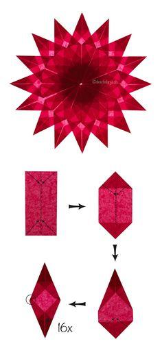 # Instructions de fabrication pour un poinsettia: Nachde - Origami Pour Enfants Kirigami, Paper Crafts Origami, Diy Paper, Paper Crafting, Tissue Paper, Poinsettia, Chat Origami, 3d Origami, Origami Ideas