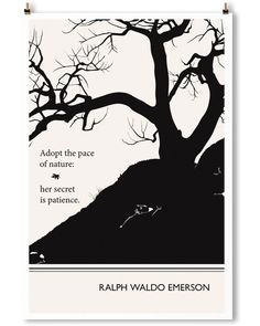 Ralph Waldo Emerson art print by Obvious State. Minimalist black and white wall art.