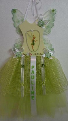 accroche barrette /decoration de chambre /plaque de porte avec ailes clochette verte - barrette - La boite à bibjoux - Fait Maison