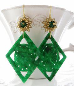 Green jade earrings, carved jade jewelry, gemstone earrings, dangle earrings, oriental style jewellery, uk gemstone jewelry, italian jewels