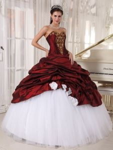 Burgundy And White Quinceanera Dress With Gold Appliques