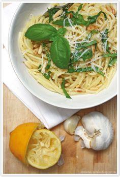 Pasta mit Knoblauch, Parmesan und Zitrone von http://dreierlei-liebelei.blogspot.de/