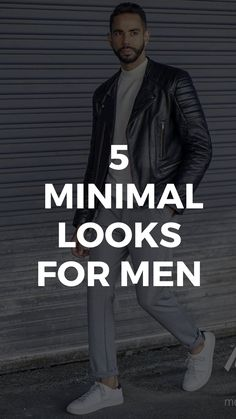 5 Minimalist Looks You'll Want To Copy Immediately Mens Fashion Blog, Best Mens Fashion, Man Fashion, Fashion Outfits, Fashion Ideas, Minimal Look, Grey Trousers, White Sneakers, Physique