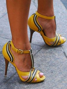 ca85fb7b8809 Yellow Sandal Shoes Peep Toe Stiletto Heel T Strap Color Block Women s  Sandals