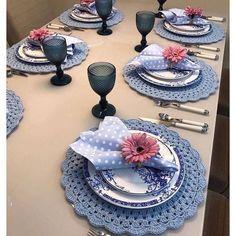 Crochet Design, Crochet Patterns, Comment Dresser Une Table, Beautiful Table Settings, Table Set Up, Napkin Folding, Table Arrangements, Deco Table, Crochet Home