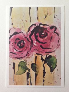 Aquarell Kunstdruck Blumen Malerei Rosen Kunstkarte Grußkarte